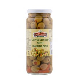 Santa Maria Green Olives Stuffed with Pimento 12x340g - Bulkbox Wholesale