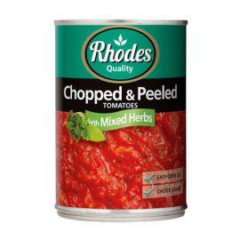 Rhodes Tomato, Basil & Origanum Chopped & Peeled 12x410g - Bulkbox Wholesale