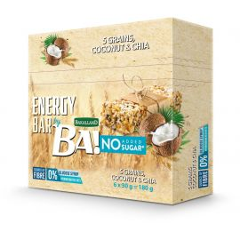 Bakalland Energy Bar No Sugar Coconut & Chia 24x30g - Bulkbox Wholesale