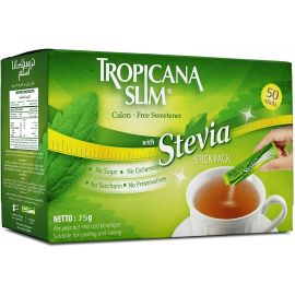 Tropicana Slim Sweetener Stevia Diet Sticks 75g - 5's (FREE Sample) - Bulkbox Wholesale