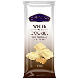 Dairyland White with Cookies Chocolate 12x90g - Bulkbox Wholesale