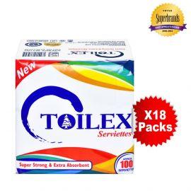 Toilex White Serviettes 100 Sheets - 18Pkts - Bulkbox Wholesale