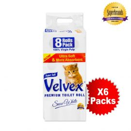 Velvex 2-Ply Toilet Tissue - 8s'x6 - Bulkbox Wholesale