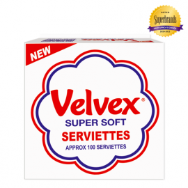 Velvex White Serviettes 100 Sheets - 12Pkts - Bulkbox Wholesale