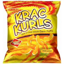 Krac Kurls Chilli Lemon Corn Puffs 48x25g - Bulkbox Wholesale