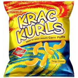 Krac Curls Tangy Cheese Corn Puffs 48x25g - Bulkbox Wholesale