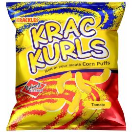 Krac Kurls Tomato Corn Puffs 48x25g - Bulkbox Wholesale