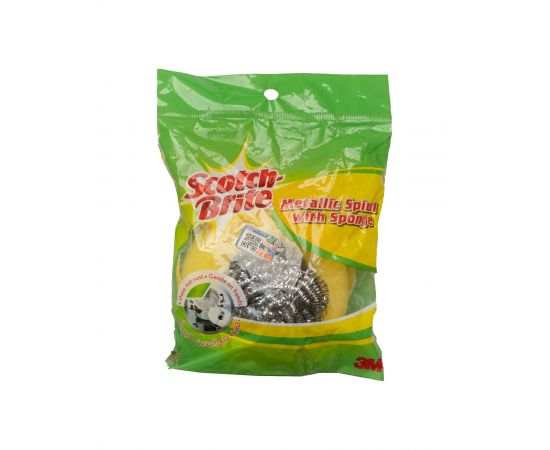Scotch Brite Metallic Spiral with Sponge 24 Packs - Bulkbox Wholesale