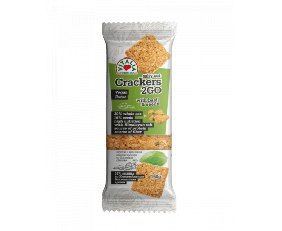 Vitalia Oat Salty Crackers Garlic Basil 6x150g - Bulkbox Wholesale