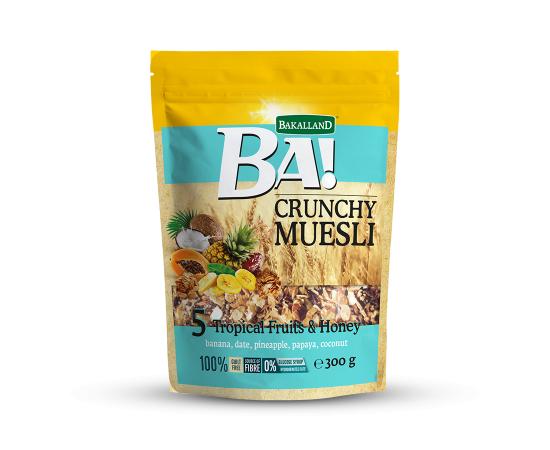 Bakalland Crunchy Muesli 5 Tropical Fruits 12x300g - Bulkbox Wholesale