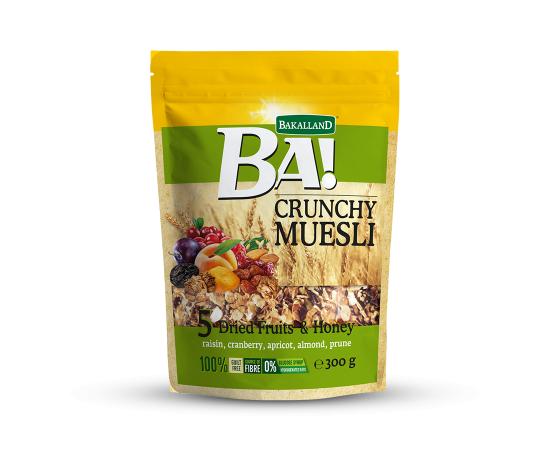 Bakalland Crunchy Muesli 5 Dried Fruits 12x300g - Bulkbox Wholesale