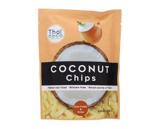 Thai Coco Coconut Chips Sour Cream and Onion 6x40g - Bulkbox Wholesale