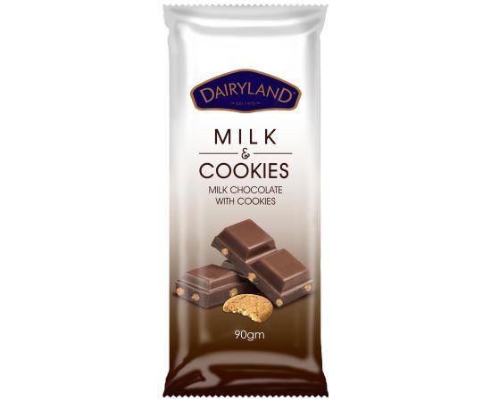Dairyland Real Milk with Cookies Chocolate 12x90g - Bulkbox Wholesale