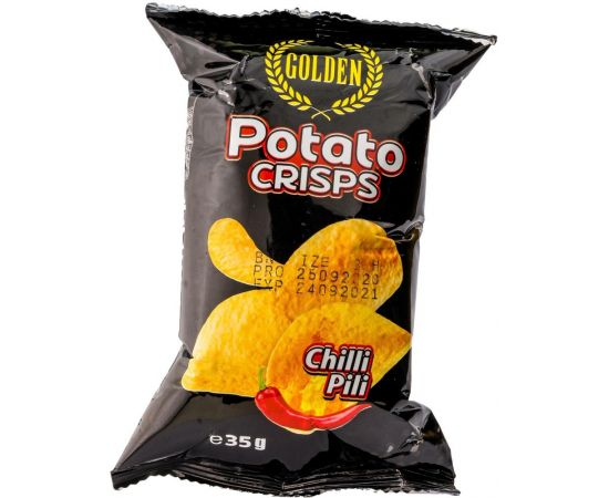 Golden Potato Crisps Chilli Pili 50x35g - Bulkbox Wholesale