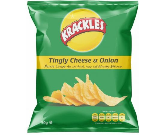 Krackles Potato Crisps Tingly Cheese & Onion - Bulkbox Wholesale